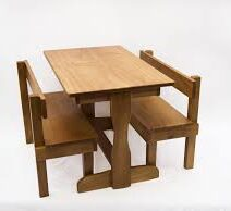 WOODN TABLE AND BENCH SEATS