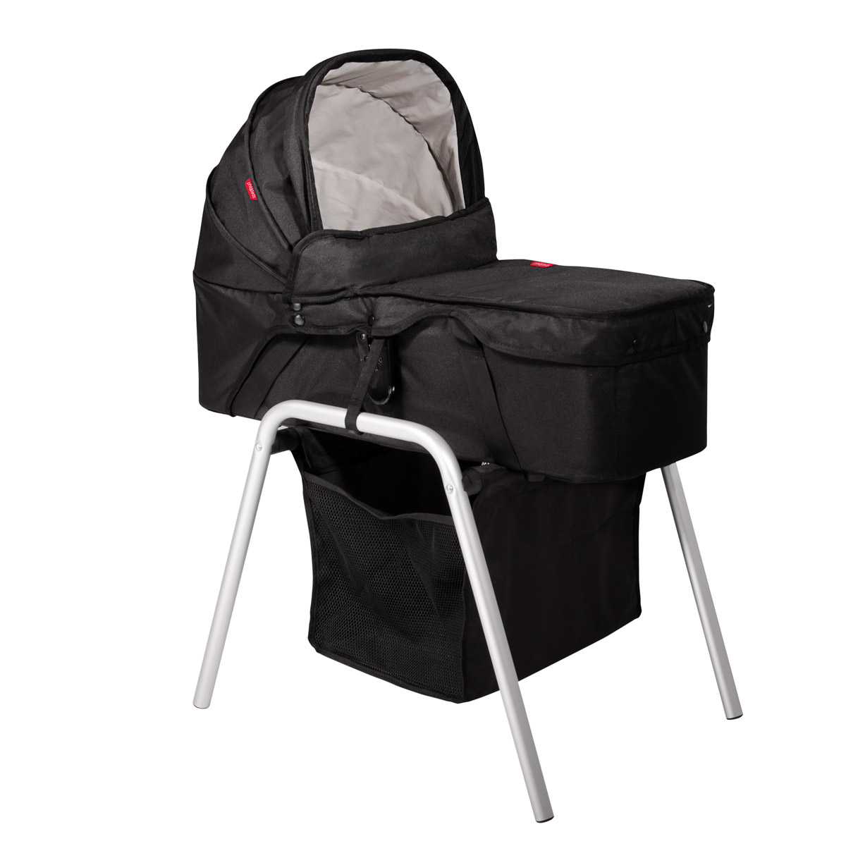 carrycot stand with snug carrycot and black hood 3 qtr angle