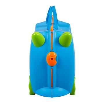 KIDDICARE Bon Voyage Ride On Suitcase Blue Front 360x
