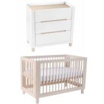 Cocoon Allure 4 in1 Cot  Natural Wash (Includes Mattress) and Change area