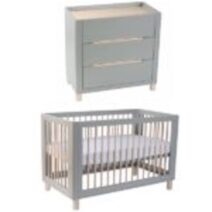 Cocoon Allure 4 in1 Cot Dove Grey/ Natural Wash (Includes Mattress) and Change area