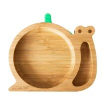 Eco Rascals organic bamboo yellow suction plate – Snail