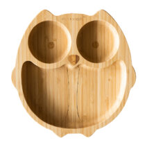 Eco Rascals organic bamboo green suction plate – Owl