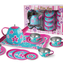 PINK FLOWER TIN TEA SET – 15pc