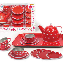 RED HEART TIN TEA SET – 15pc