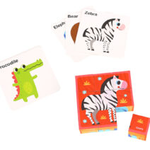 TOOKY TOY ANIMAL BLOCK PUZZLE WITH DRAWING CARD