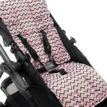 OUTLOOK BABY PRAM LINER – PINK GREY CHEVRON
