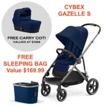 Cybex Gazelle S , Carry cot, Sleeping Bag – Combo Deal