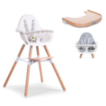 EVOLU 2 HIGHCHAIR, WHITE / TIMBER TRAY PACKAGE